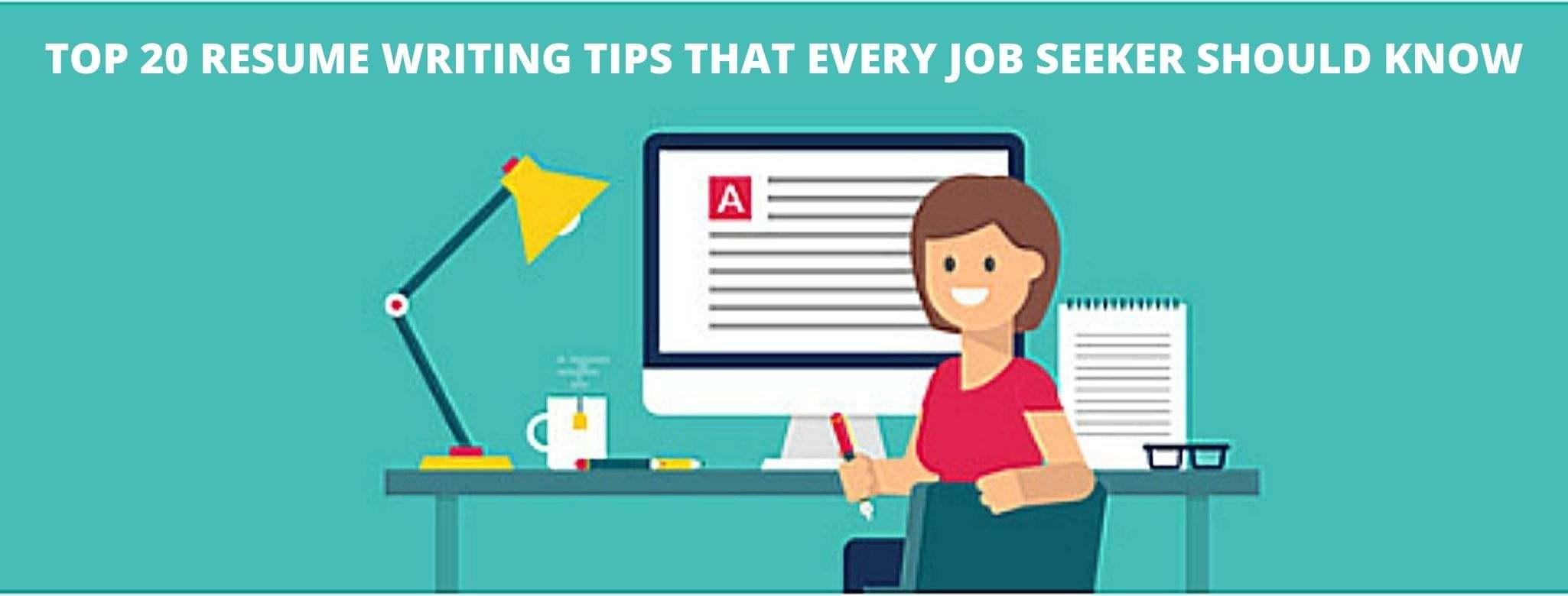 The image shows top 20 resume writing tips